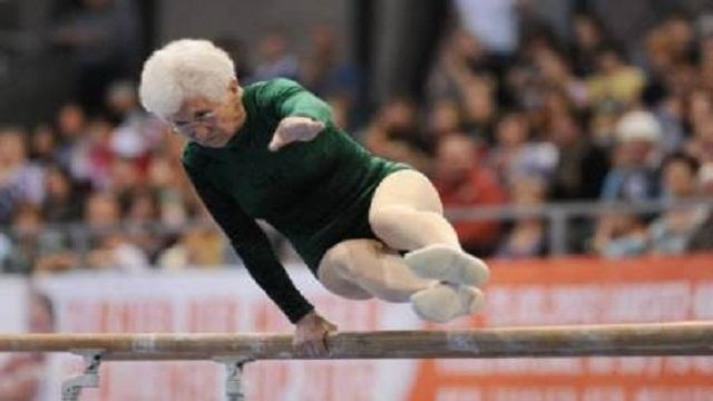 Gymnast, 86, dazzles crowds