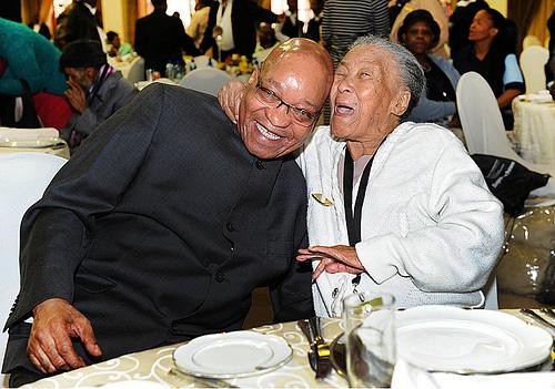 Zuma w 100 yr old Margarethe Pelserat last year's OP Day