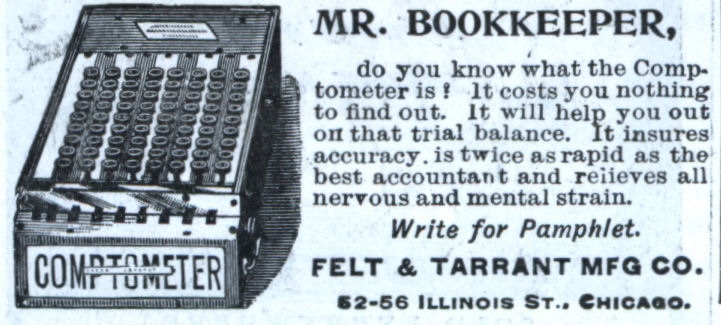 Ad for a comptometer
