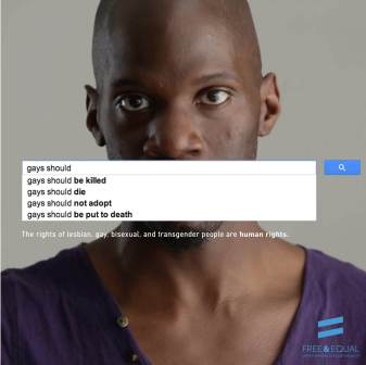 UN anti-homophobia poster based on Google search