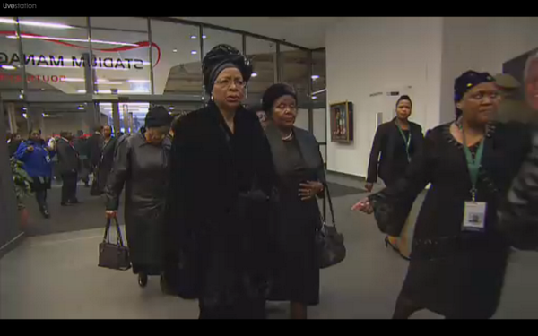 First glimpse of Mandela's widow as Graca Machel arrives at Soweto memorial service