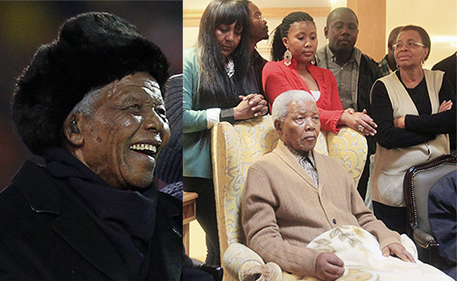 Some of the last photos taken of Nelson Mandela: enjoying South Africa's hosting of the 2010 soccer world cup (left) and with his wife Graca and family members earlier this year