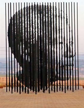 Sculpture at Mandela Capture Site in KwaZulu Natal, South Africa - site where then-fugitive Mandela was arrested by apartheid police in 1962