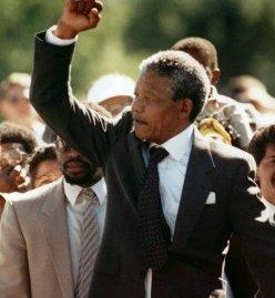 Mandela walking out of jail on 11 February 1990