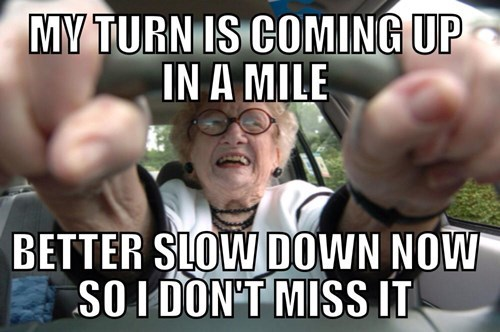 Internet meme mocking older drivers