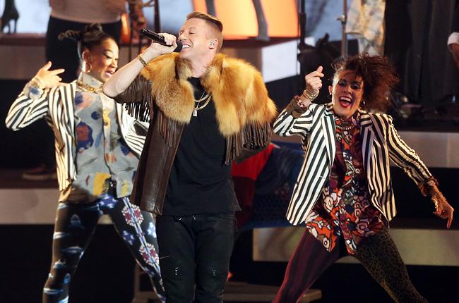 Macklemore in his trademark granny fur at Grammy nominations