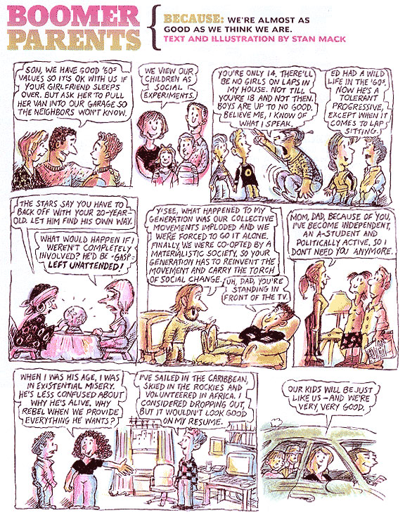 Recent Stan Mack comic featuring trademark eavesdropped comments, in My Generation mag/AARP
