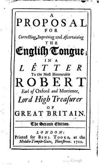 Jonathan Swift complaint against Bad Grammar