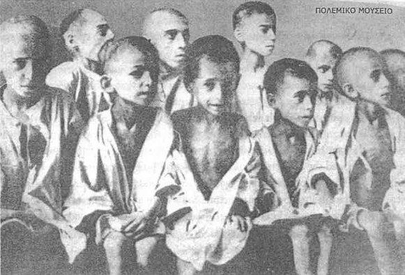 Starving Greek children during the second world war