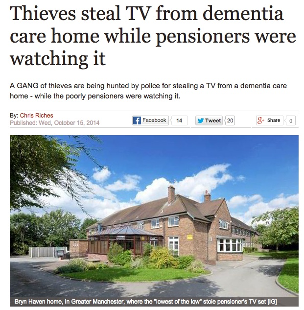 headline-thieves steal TV while dementia patients watching it