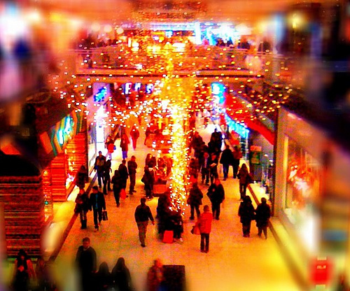 holiday shopping at busy mall
