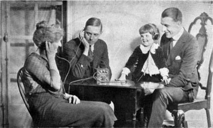photo of family listening to crystal radio in approximately 1920