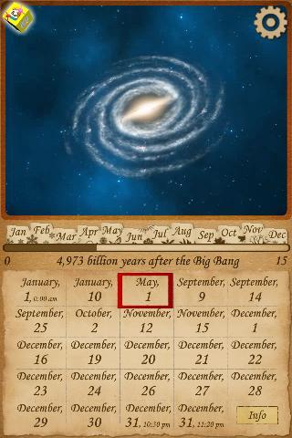 Astronomy universe calendar
