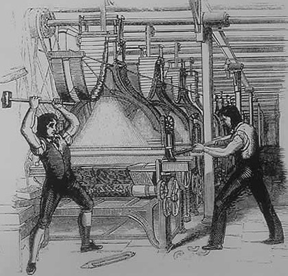 Luddites breaking a mechanized loom that they see as a threat to workers