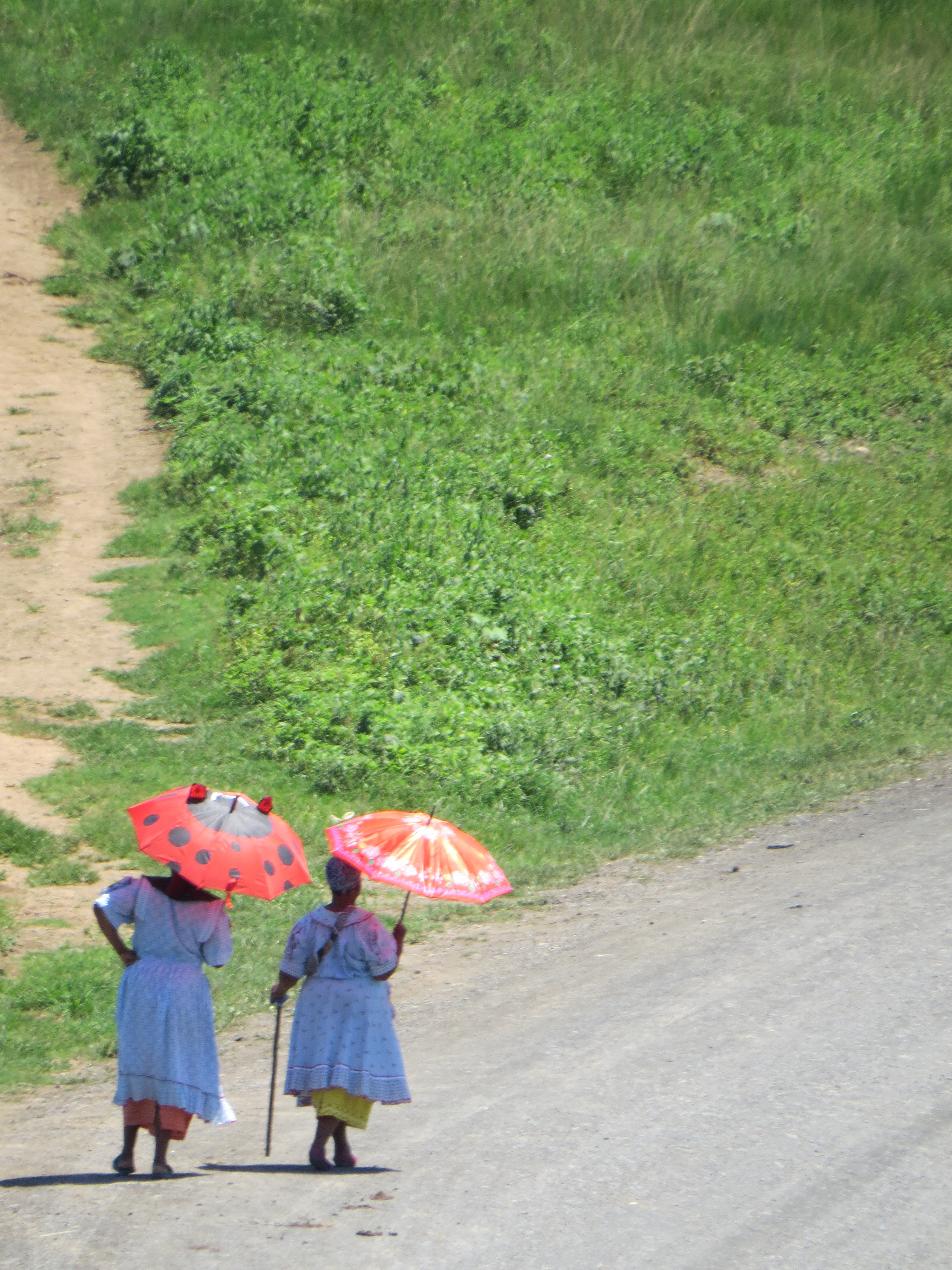 rural women walking with umbrellas against the sun