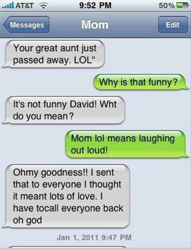 funny text message mother-son