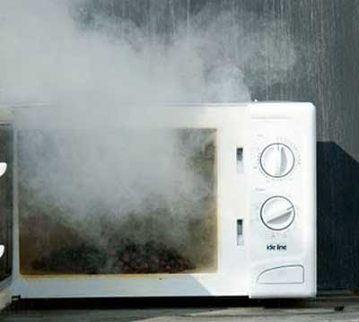 microwave oven on fire