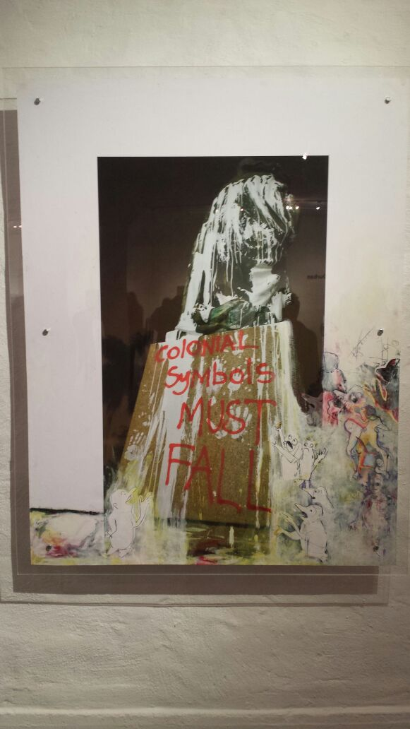 Artwork by Trui Roozenveld van der Veen of statue of Britain's King George defaced with painted slogans by students at the University of KwaZulu Natal in Durban, South Africa