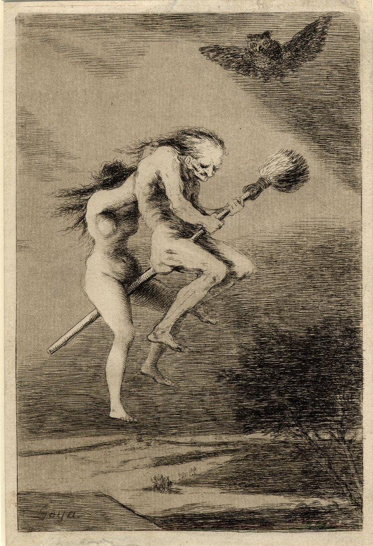"Etching and aquatint by Francisco Goya, 1799 of witch training, ""Pretty Teacher"" (Linda Maestra) from Los Caprichos (""Whims"") portfolio"