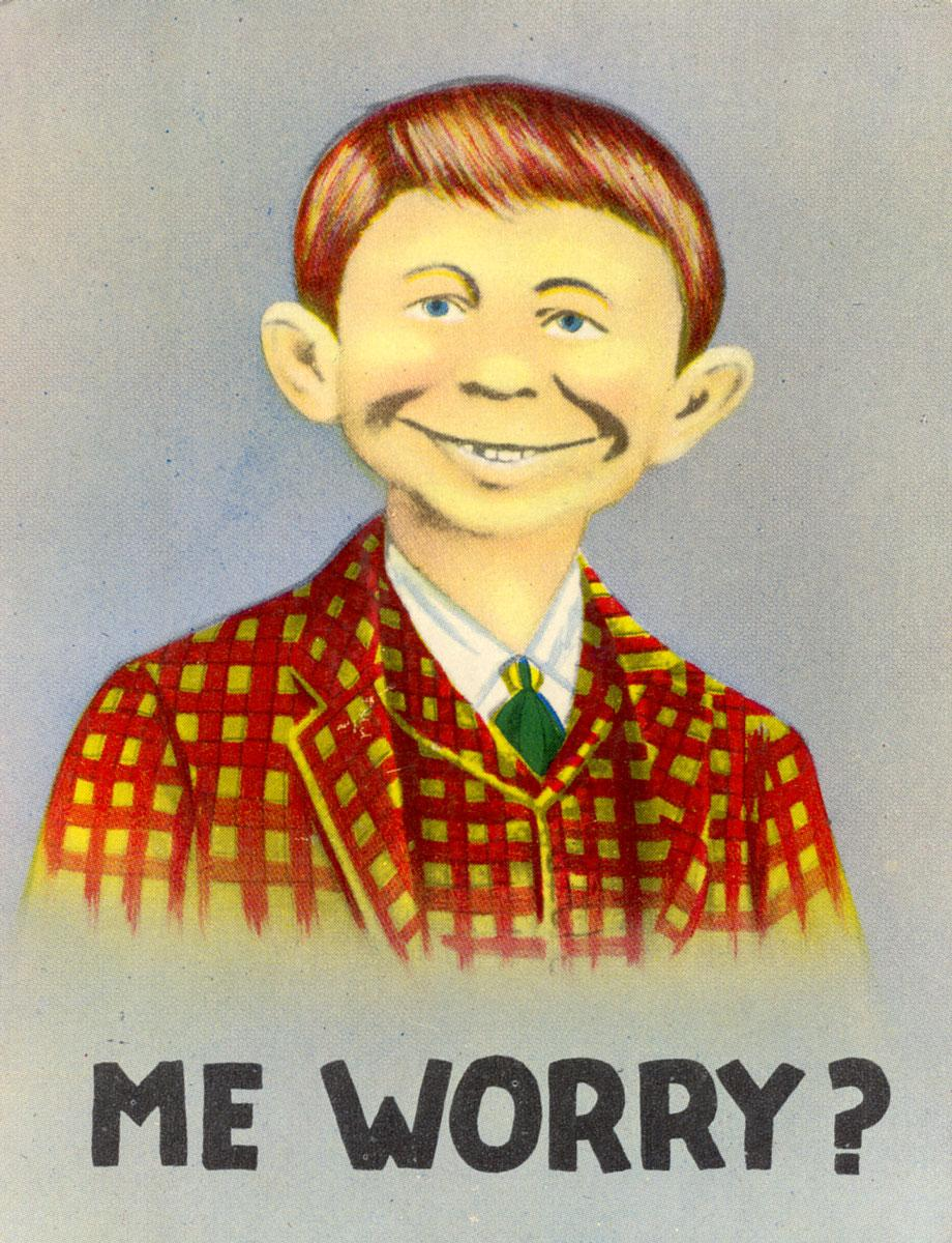Nature walks can make you happy and help stop worrying - never done by Mad magazine cover boy Alfred E. Neuman.