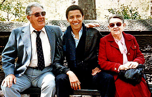 US President Barack Obama in his youth with his grandfather and grandmother