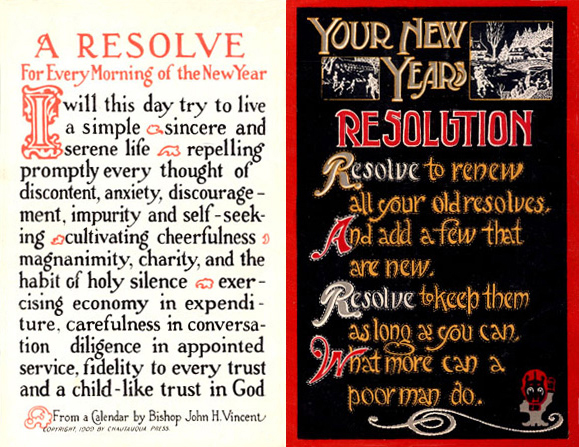 Early 20th-century New Year's resolution postcard