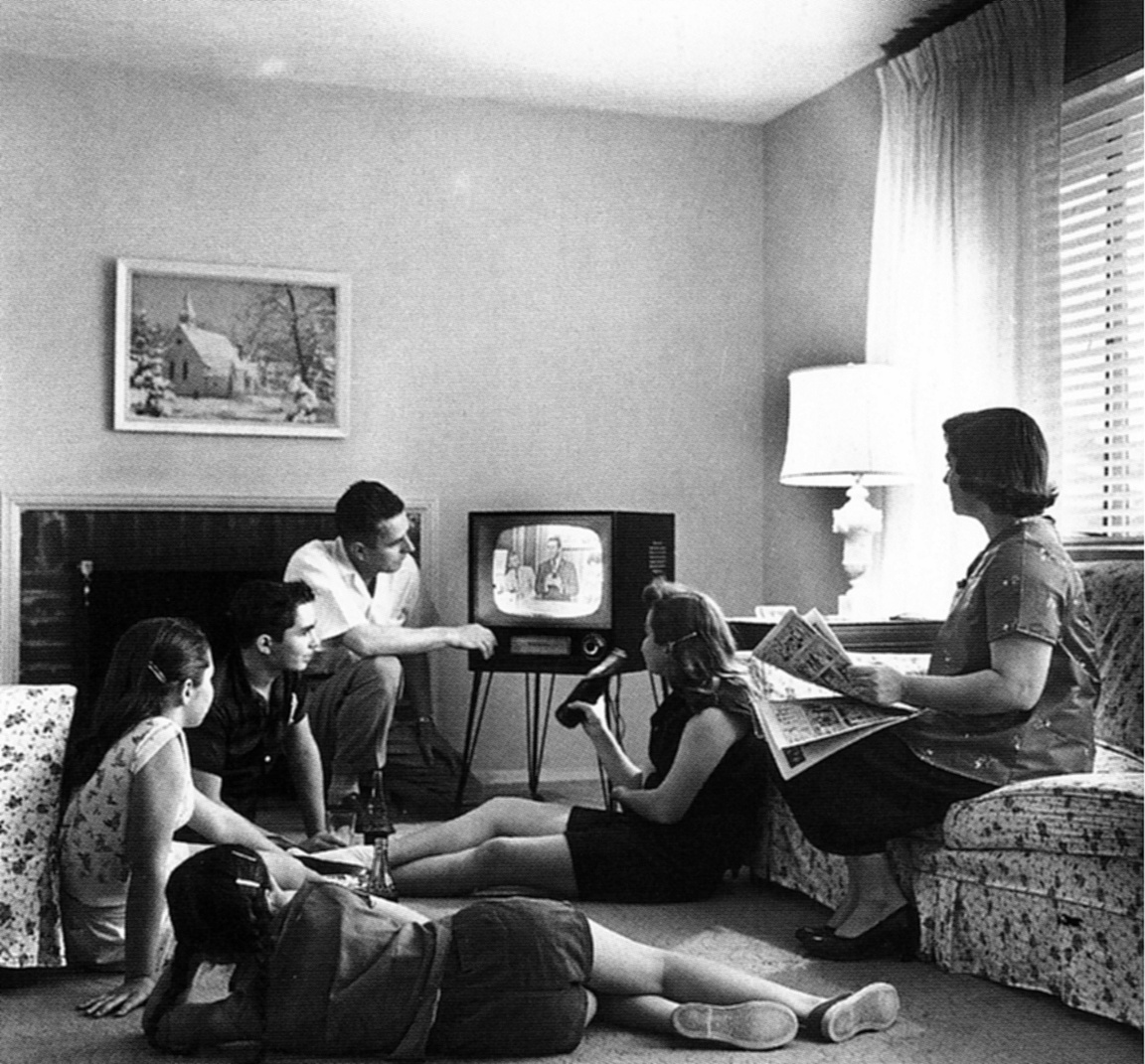 Family watching TV in 1958