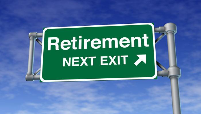 Retirement next exit road sign