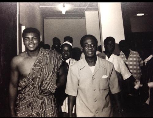 Muhammad Ali wearing kente cloth with Ghana President Nkrumah, 1964