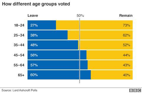 EU referendum graph showing voting by age group