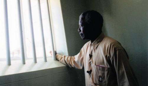 Nelson Mandela in his Robben Island prison cell