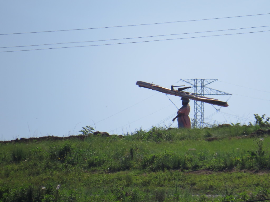 Zulu old woman carrying firewood past power pylon