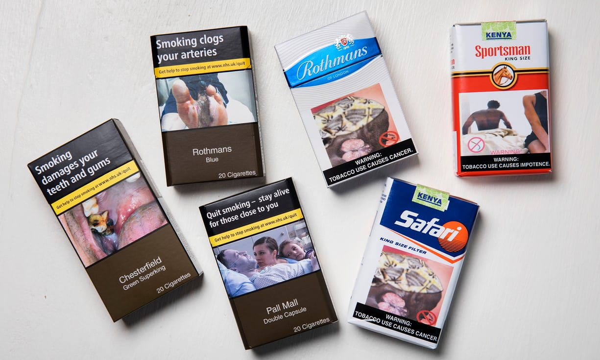 UK cigarette packs with warnings and African packs without warnings